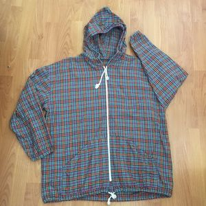 Vtg Men's Hooded Zip Up Light Plaid Jacket Large